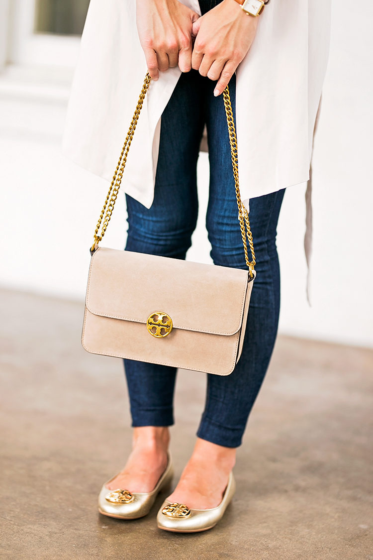 SHOES gold tory burch claire ballet flats | JACKET drapey roll tab sleeve  jacket | SWEATER tan sweater (sold out, similar linked) | BAG tory burch  suede bag ...
