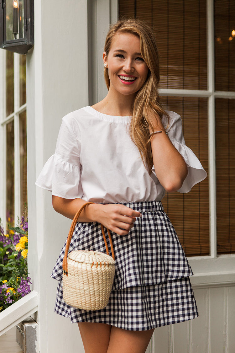 navy gingham skirt, madewell skirt