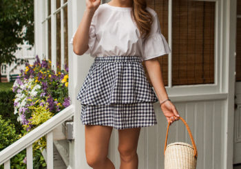 navy gingham skirt // 50% off