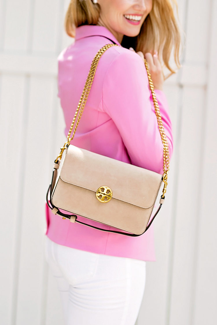 tory burch chelsea suede shoulder bag, pink blazer