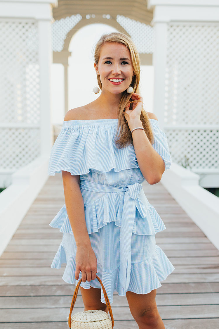 light blue off the shoulder dress