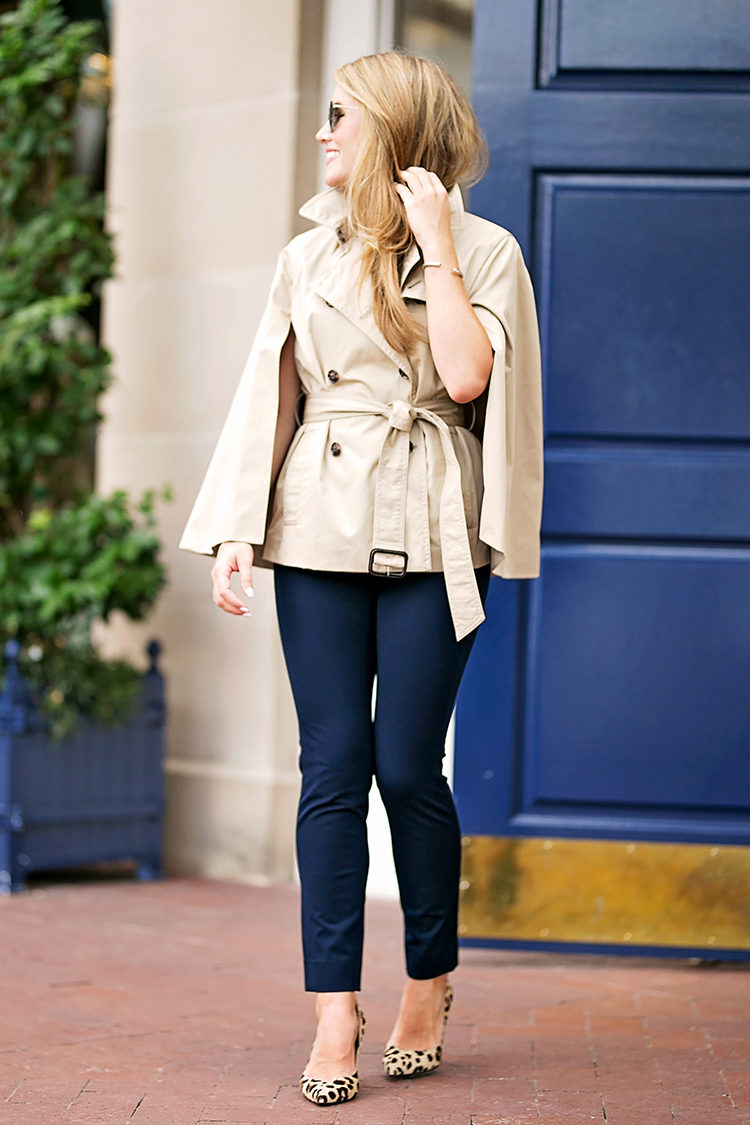 the sloan pant, banana republic sloan pant, leopard pumps, trench cape