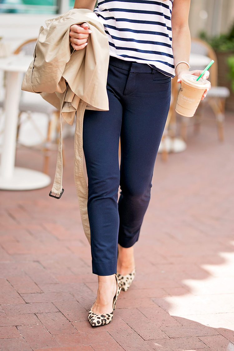 the sloan pant, banana republic sloan pant, leopard pumps, navy striped shirt