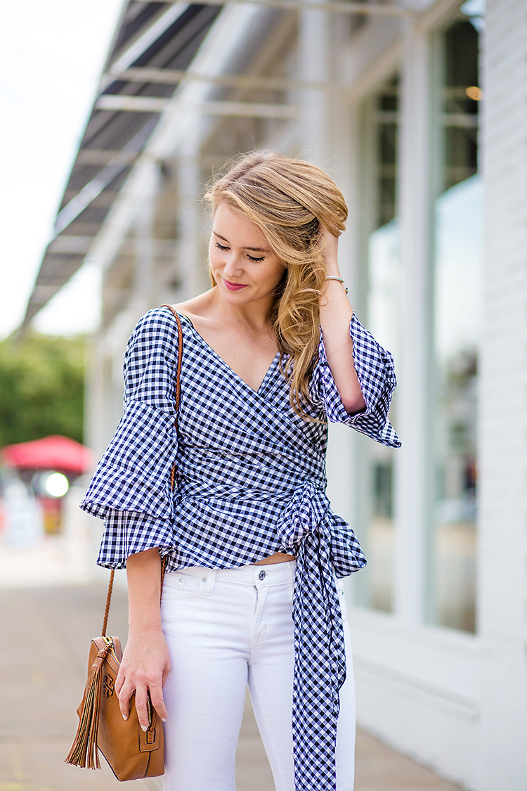navy gingham wrap top