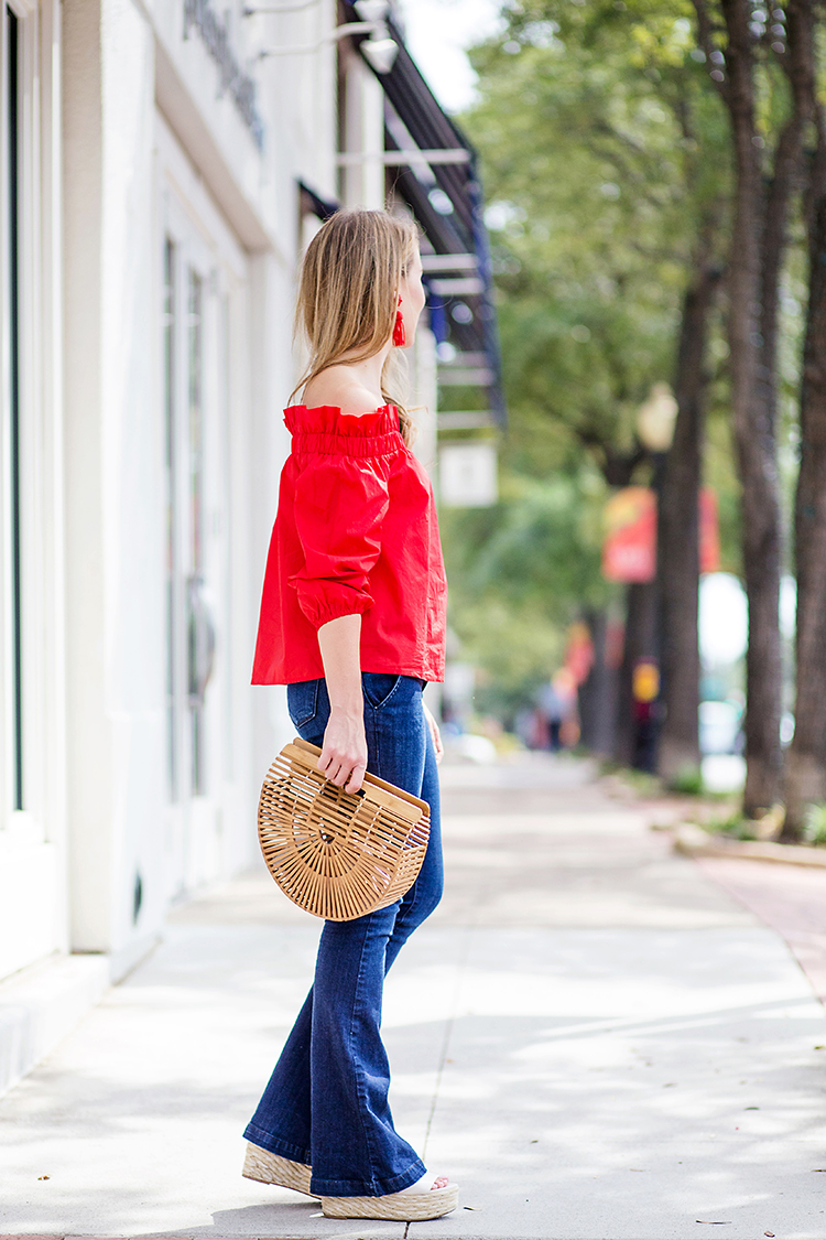 red off the shoulder top