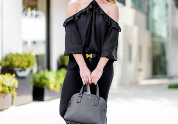 black ruffle halter neck