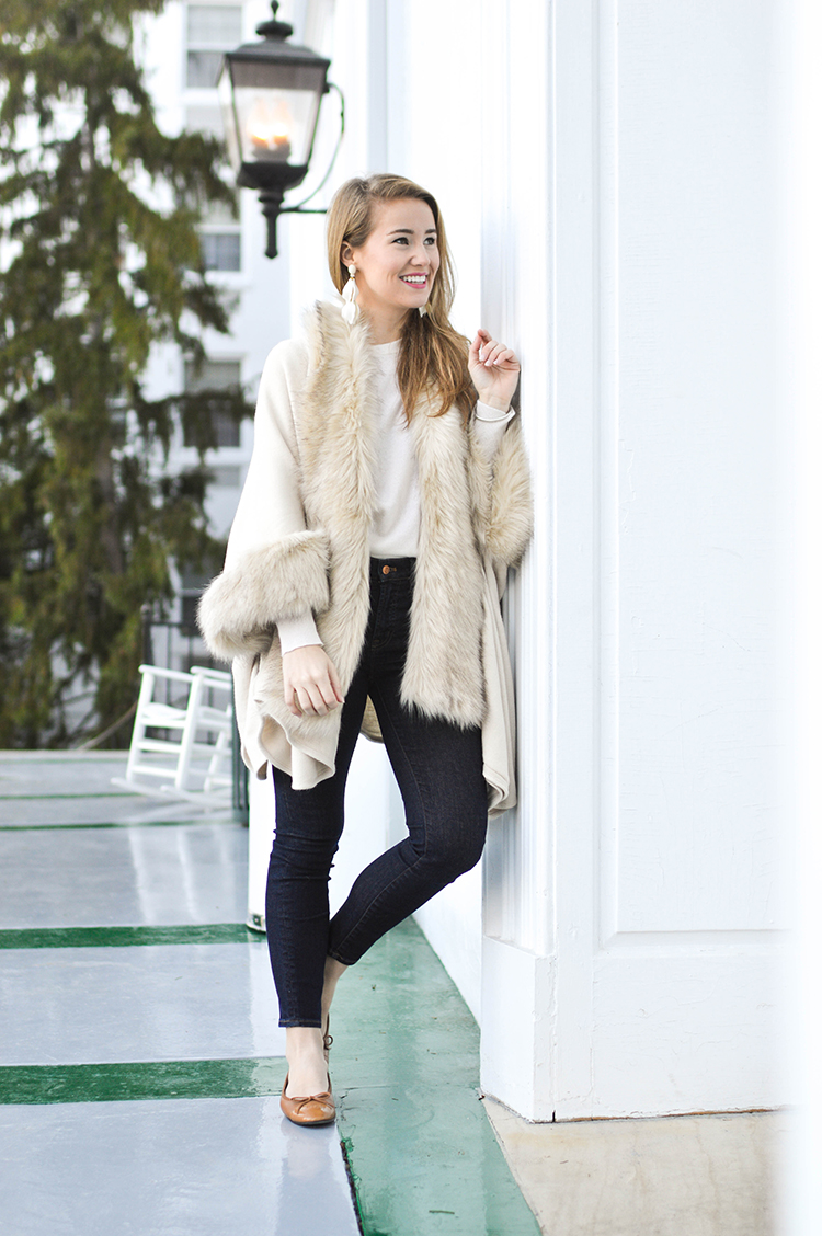 white faux fur cape