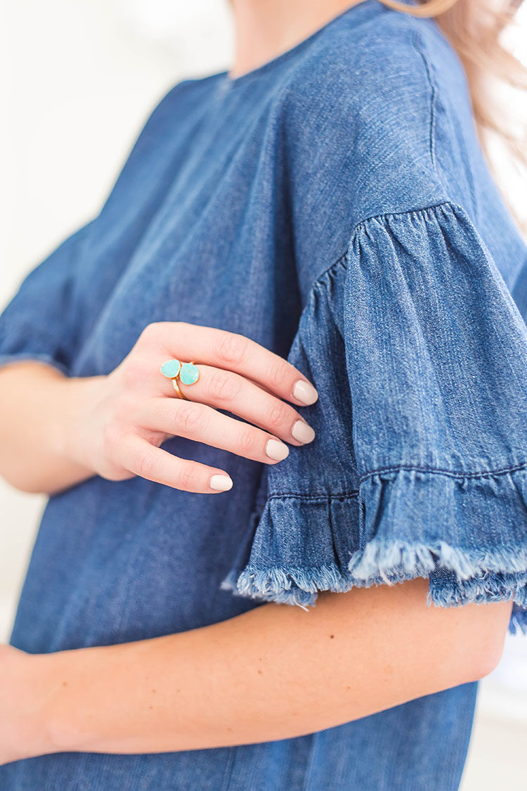 denim ruffle sleeve dress