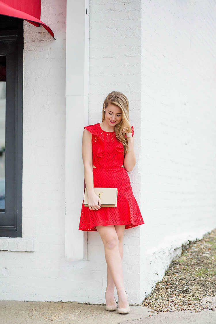 red crochet ruffle dress
