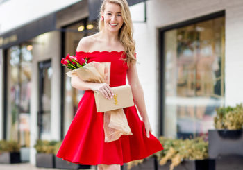 red scalloped valentine's dress