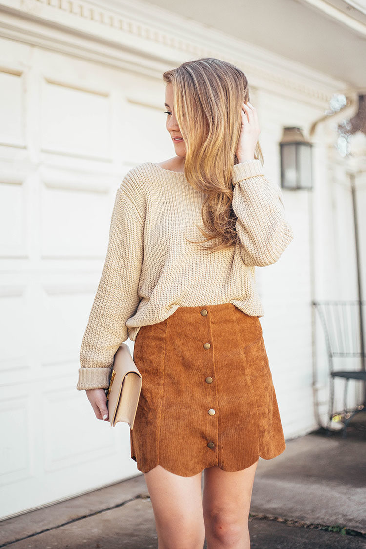 2c8dfa5792 SKIRT scallop corduroy skirt ($12, wearing size XS) | SWEATER twist sweater  (camel sold out, worn backwards) | SHOES suede pointy toe pumps | CLUTCH  ysl ...