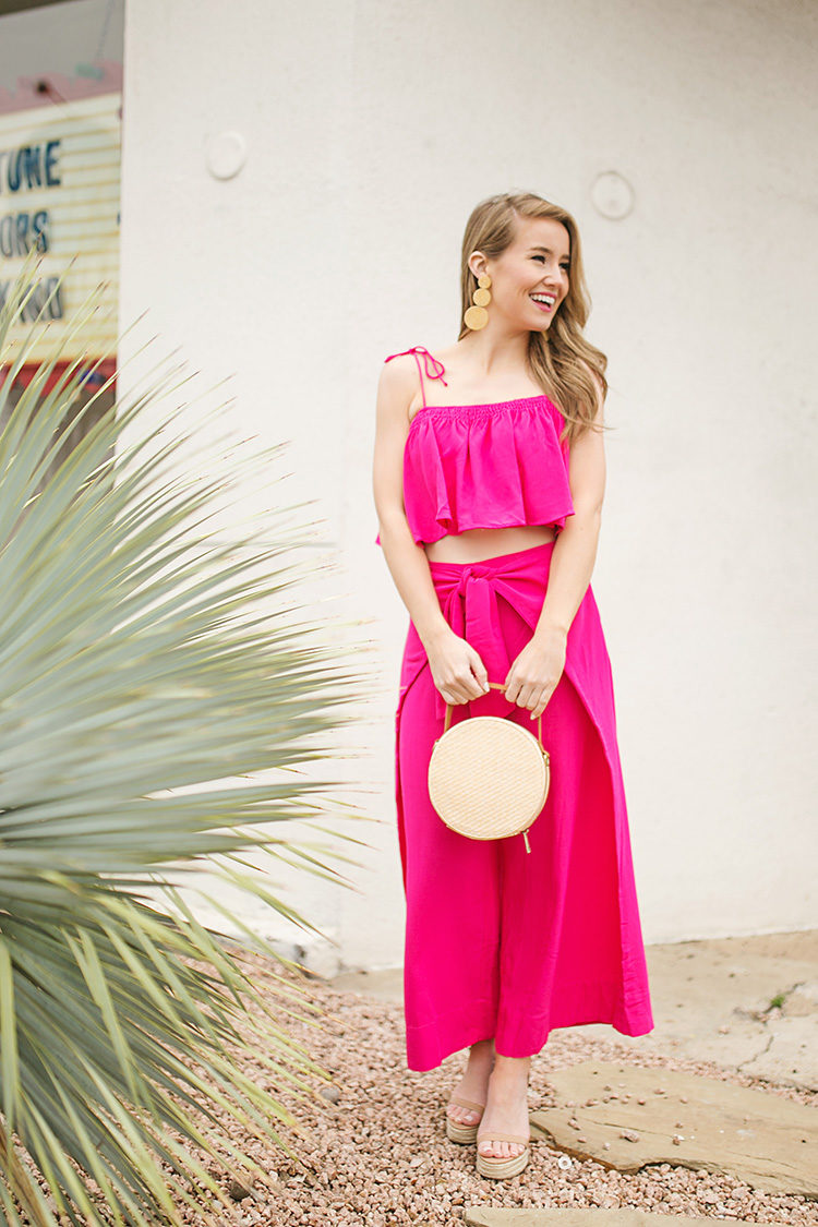 pink matching set, straw circle bag