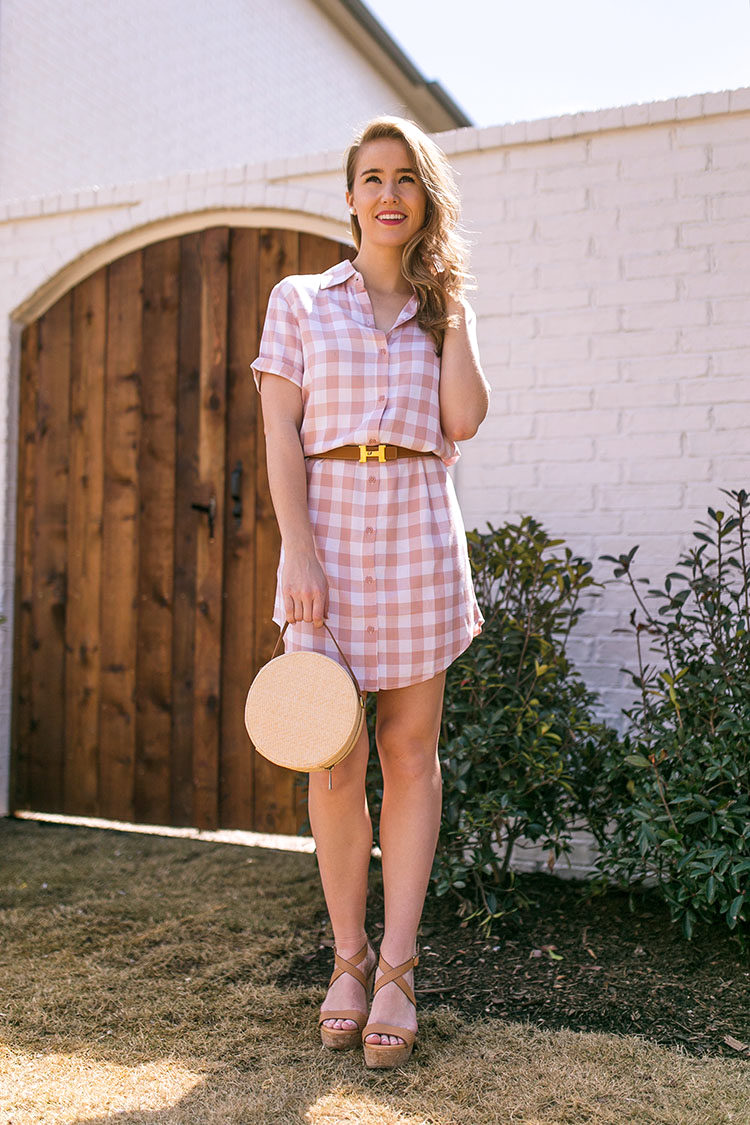 pink gingham shirtdress