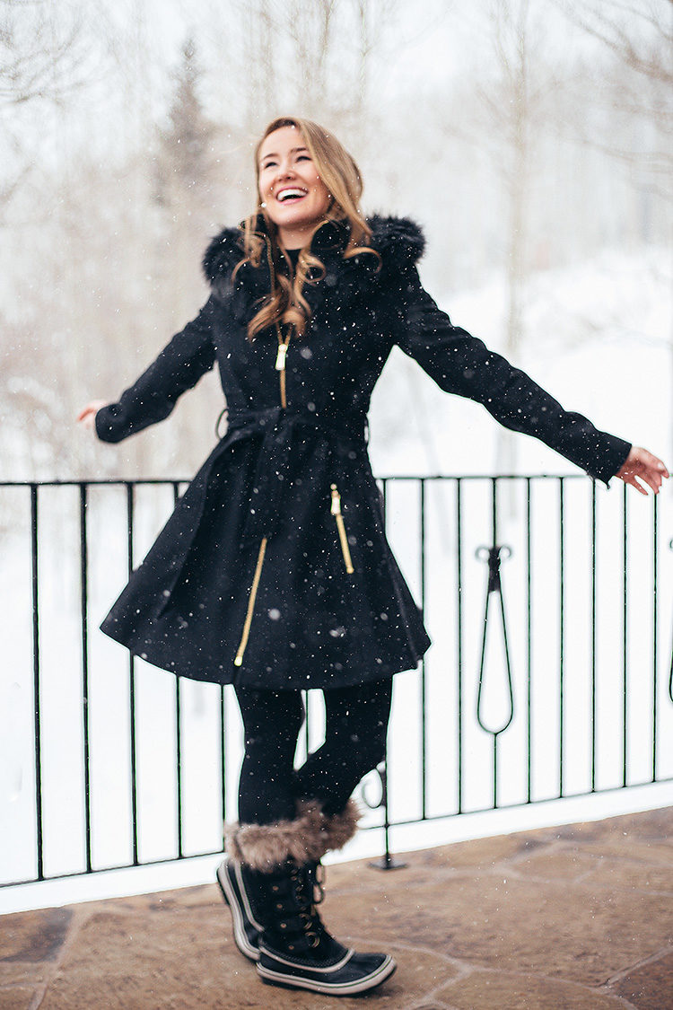 faux fur skirted coat, laundry coat, black aline coat, sorel joan of arctic boots, cute snow outfit