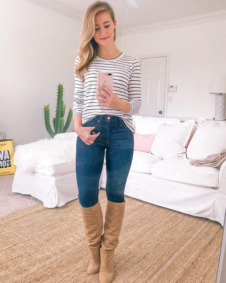 d91eb408b TOP Calson Long Sleeve Scoop Neck Cotton tee (wearing size XS)   JEANS  Calson Sierra Skinny Jeans (true to size, wearing 24)   BOOTS Sam Edelman  Caprice ...