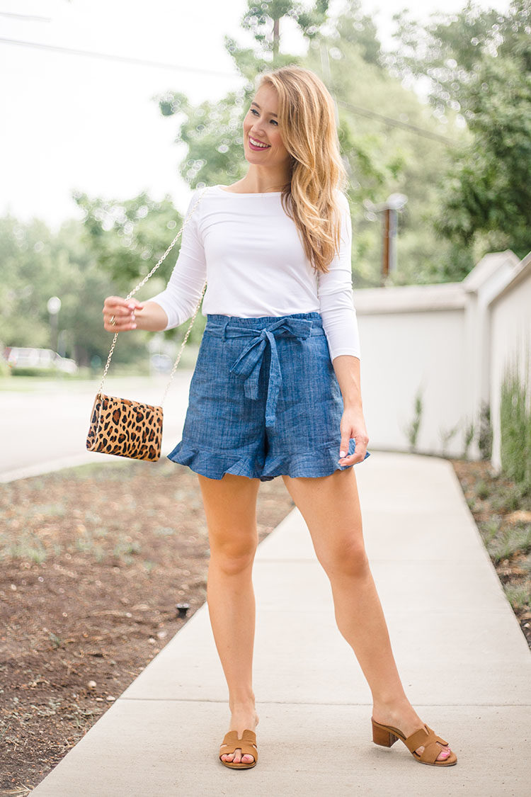 chambray bow shorts