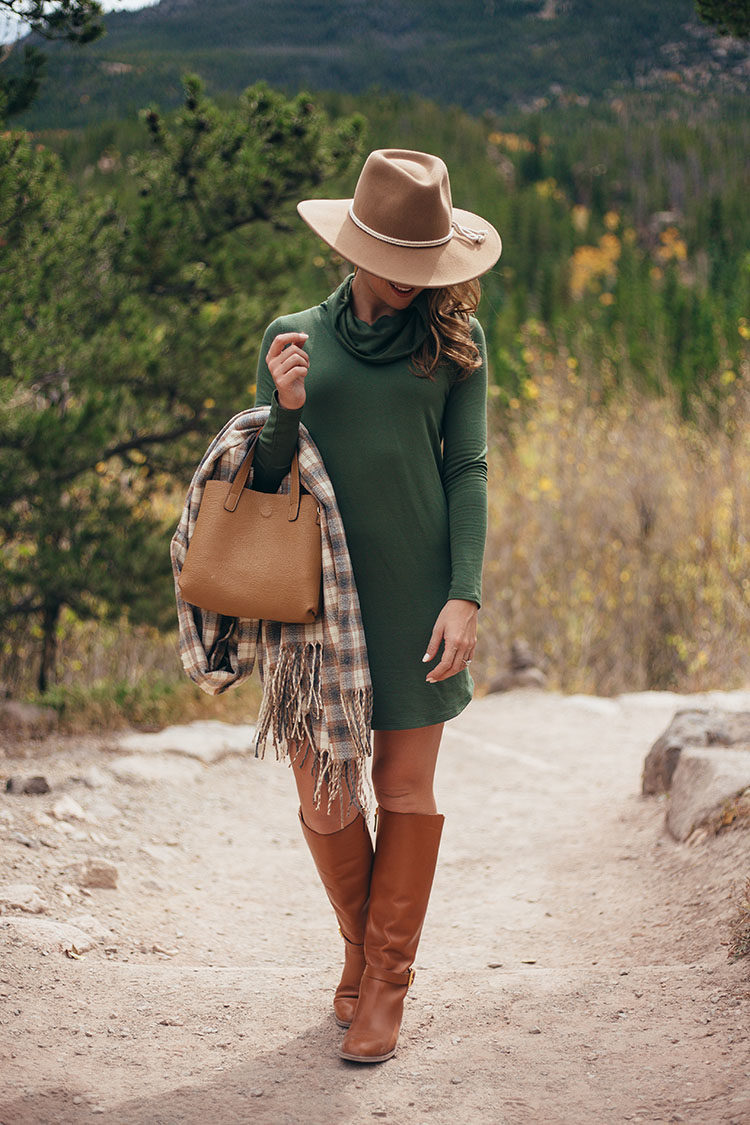 lou and grey long sleeve dress, tory burch riding boots, brixton wool felt hat