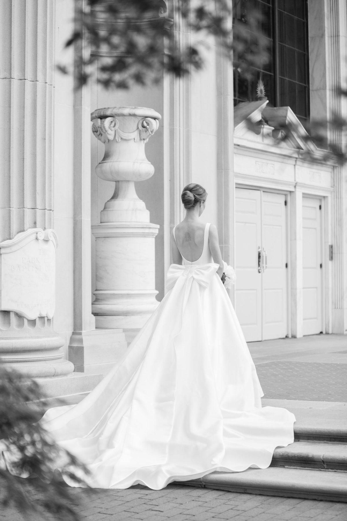 bow wedding dress, sareh nouri brooklyn wedding dress, classic wedding dress, bateau neckline wedding dress, long train wedding dress