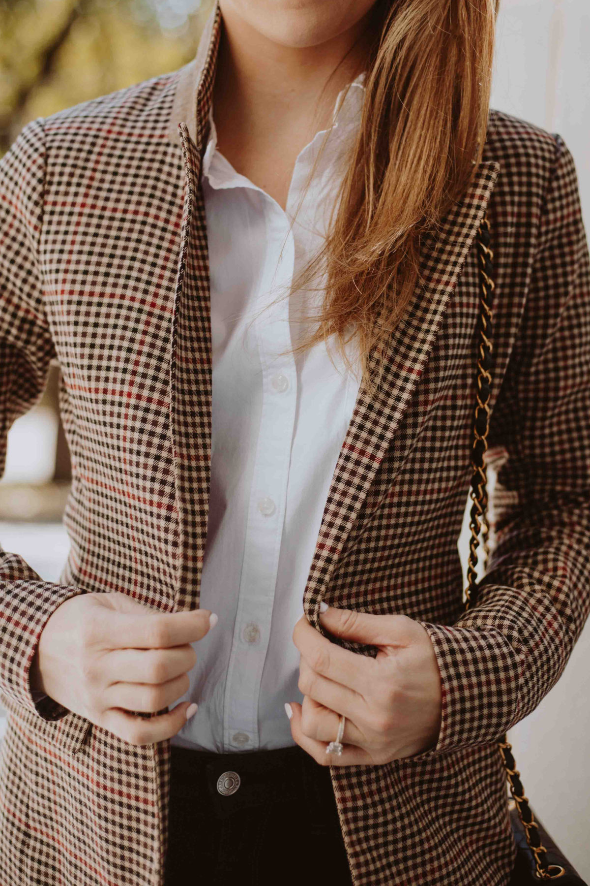 women plaid blazer