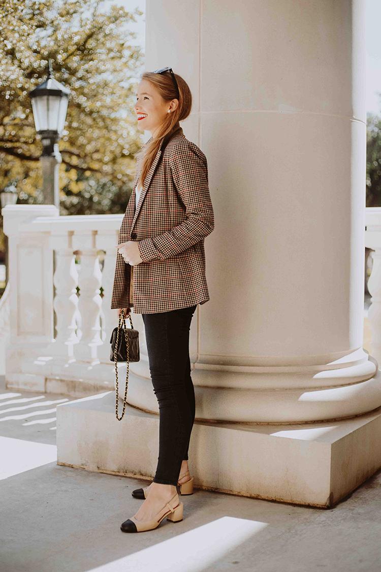 women plaid blazer
