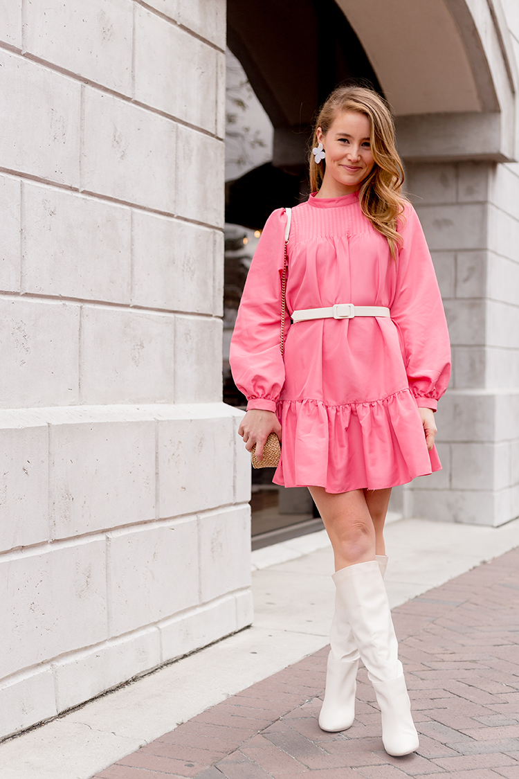 pink dress, hm, ecru boots