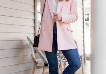 a pink pearl blazer