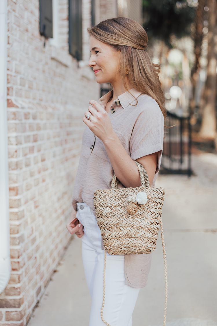 neutral spring outfit, straw bag