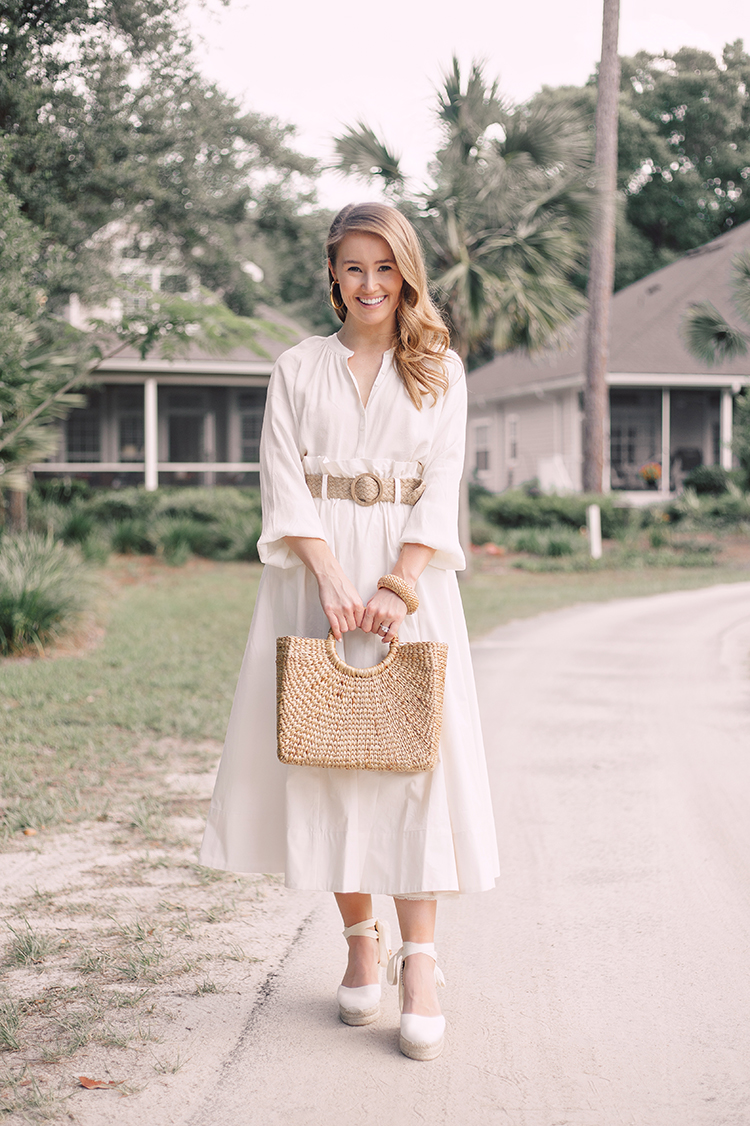 white midi skirt, espadrille wedges, straw bag, woven belt