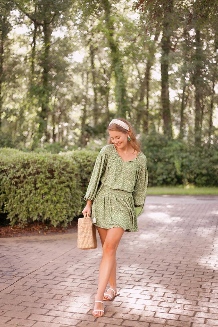 green smocked floral dress