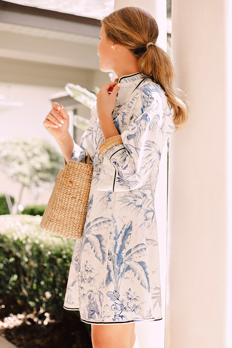 blue and white toile dress