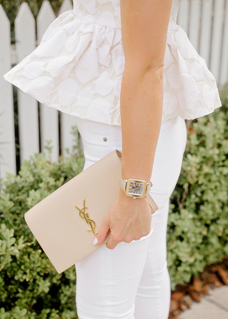white peplum top, michele deco watch