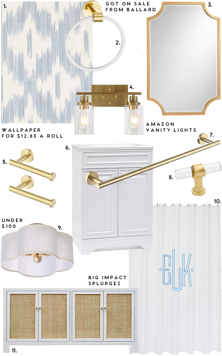 guest bathroom ideas, ikat wallpaper, gold scallop mirror, monogrammed shower curtain