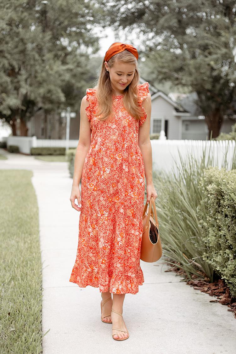 orange floral maxi dress