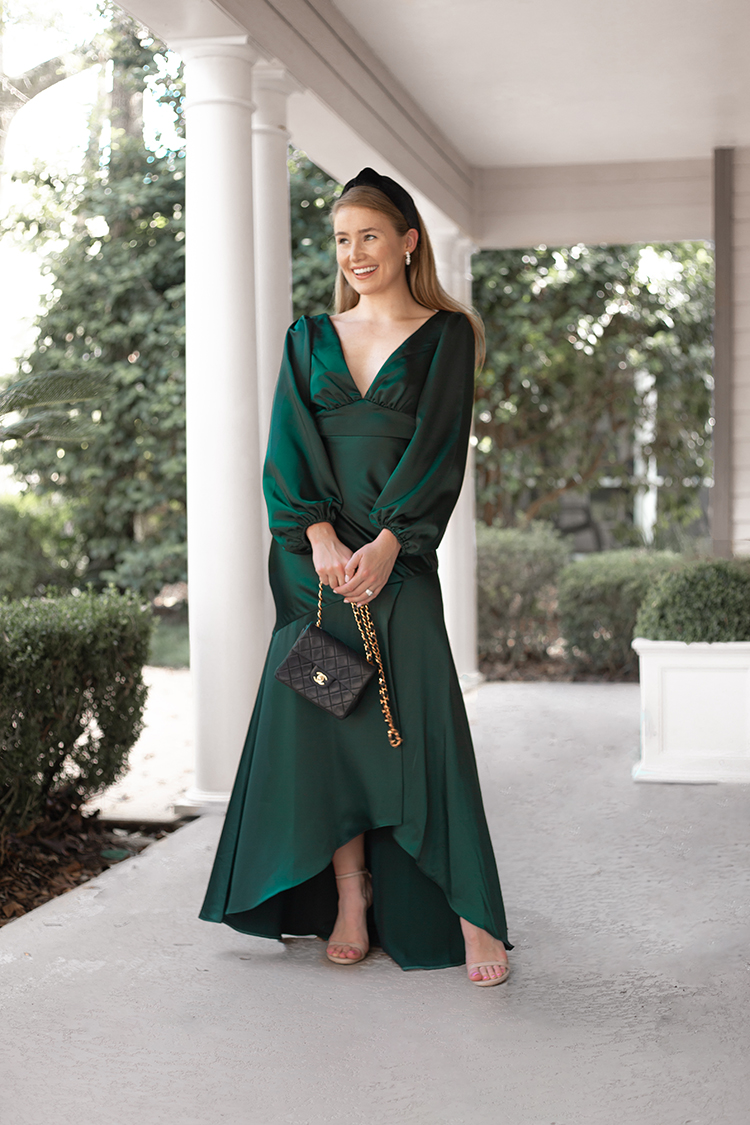 long sleeve green evening gown, black velvet lele sadoughi headband, pearl hoop earrings
