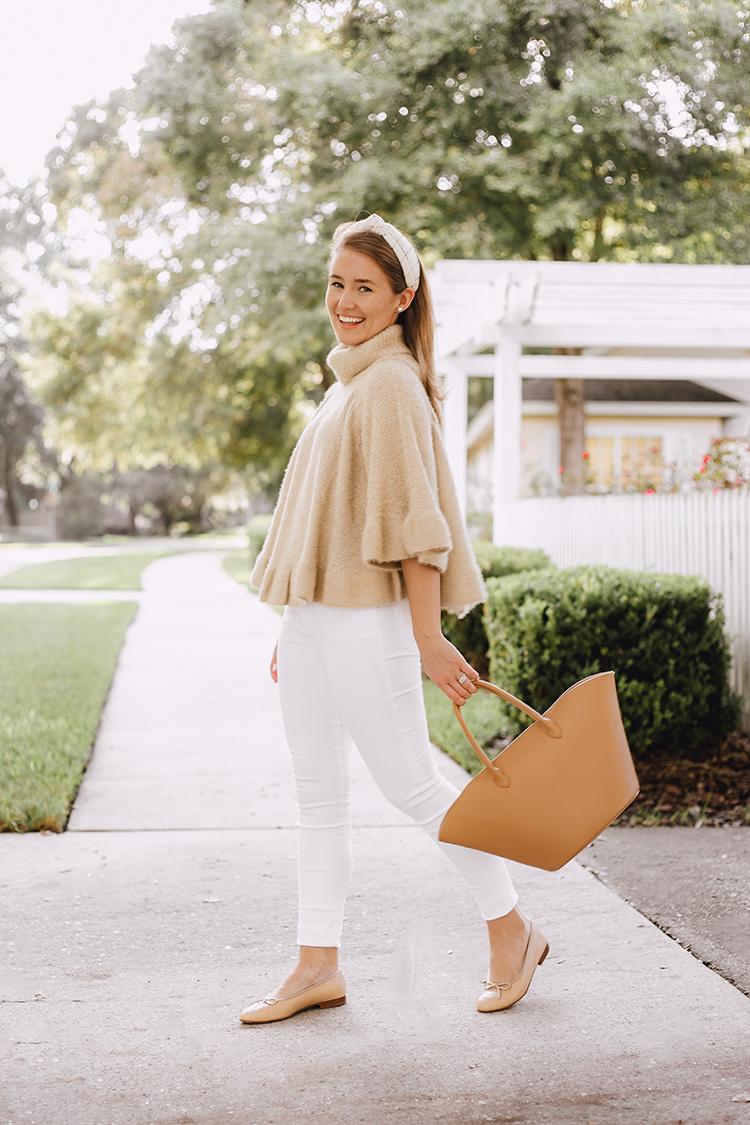 ruffled sweater, beige chanel ballet flats
