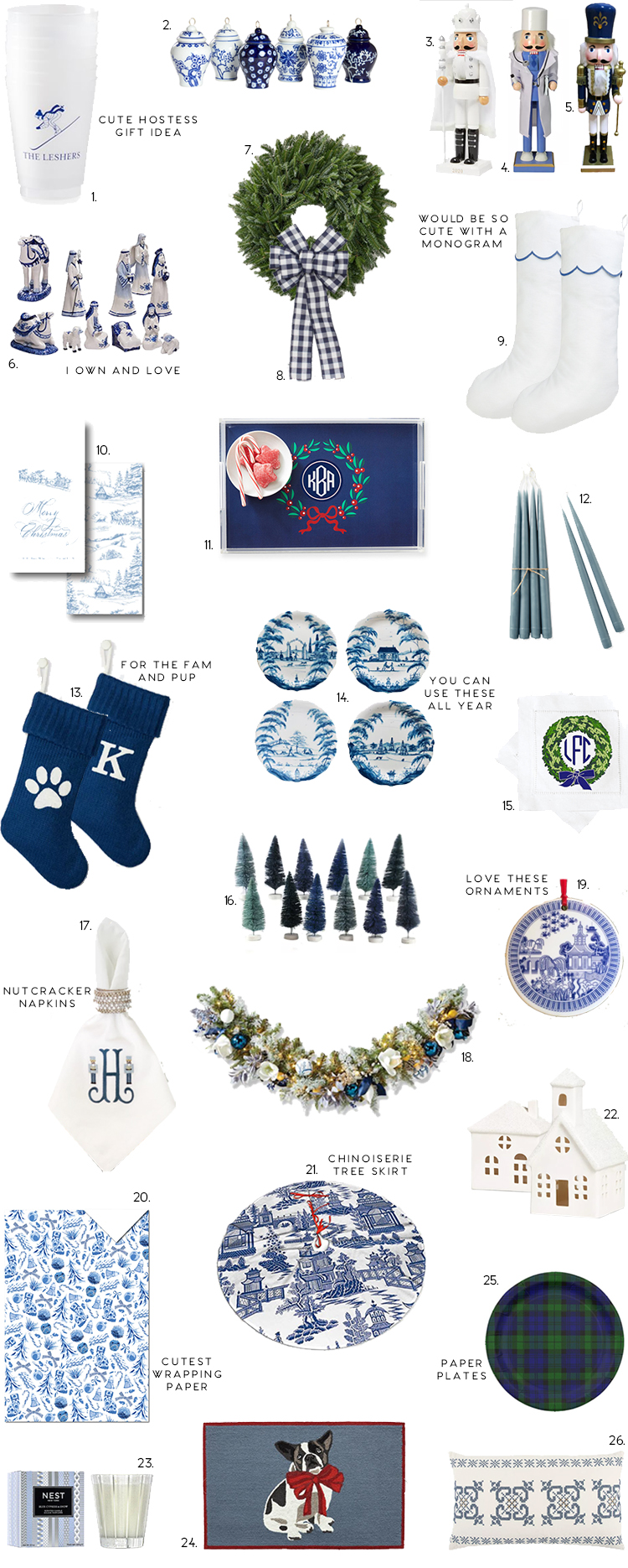blue and white christmas decor,  chinoiserie