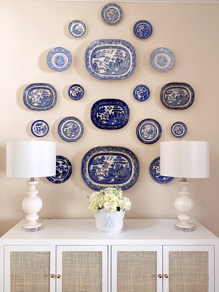blue and white plate wall, rattan buffet sideboard cabinet