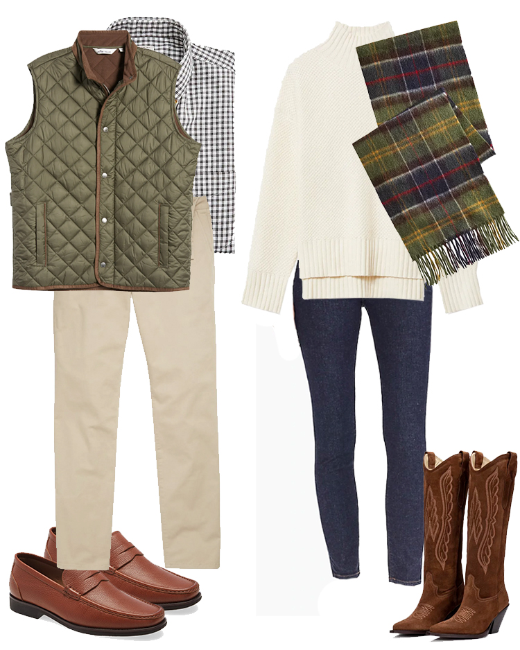 christmas card outfit ideas, engagement photo outfit ideas, barbour scarf, peter millar vest, outfit