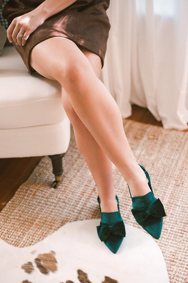 green velvet bow shoes