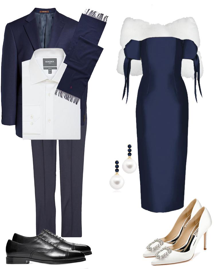 christmas card outfit ideas, engagement photo outfit ideas, alexia maria dress, badgley mishka, monolo blahnik