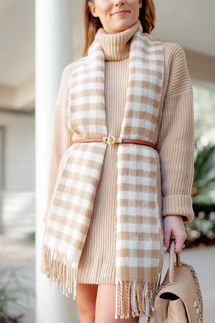 the perfect sweater dress, tan sweater dress, gingham scarf, chanel coco top handle bag, marc fisher booties