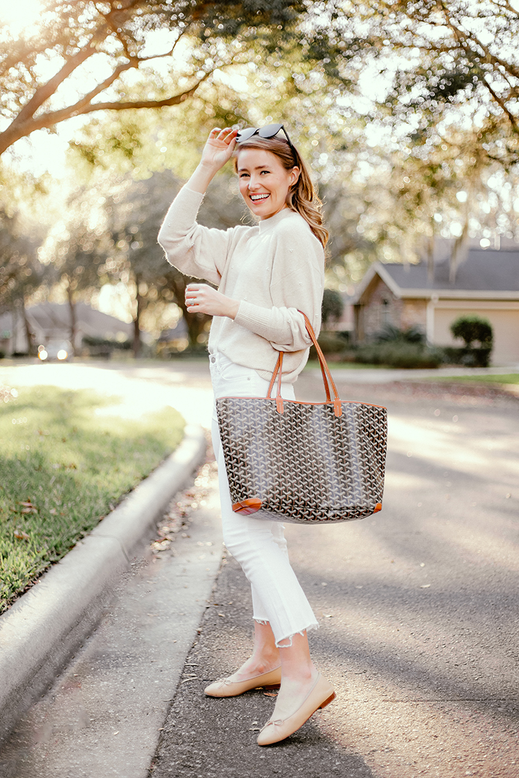 pearl sweater, goyard artois tote mm, chanel ballet flats