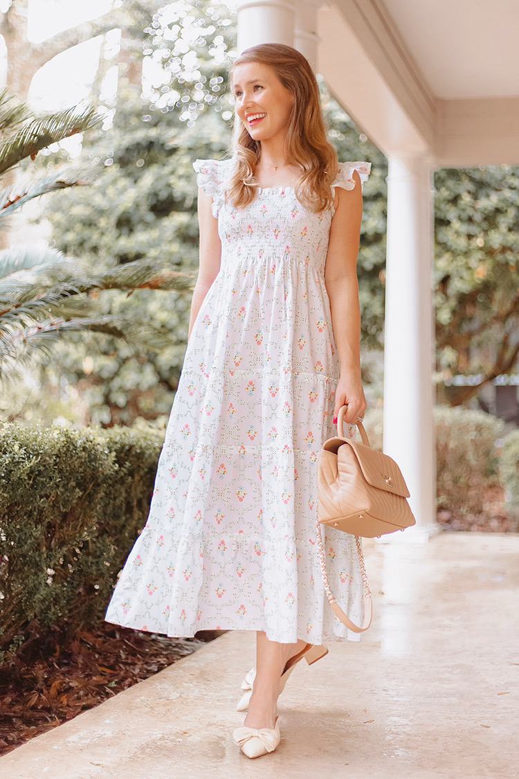 hill house ellie nap dress, bow shoes, mules, chanel coco top handle, mint cardigan