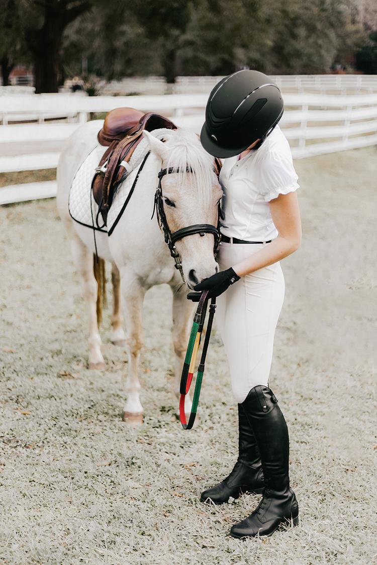 cute equestrian apparel, bit and bloom riding, one k defender helmet, ariat contour ii heritage field boot