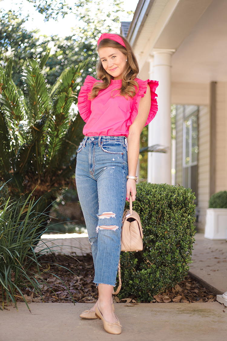 english factory pink ruffle sleeve top, abercrombie high waist jeans, coco chanel top handle, pink lele sadoughi headband