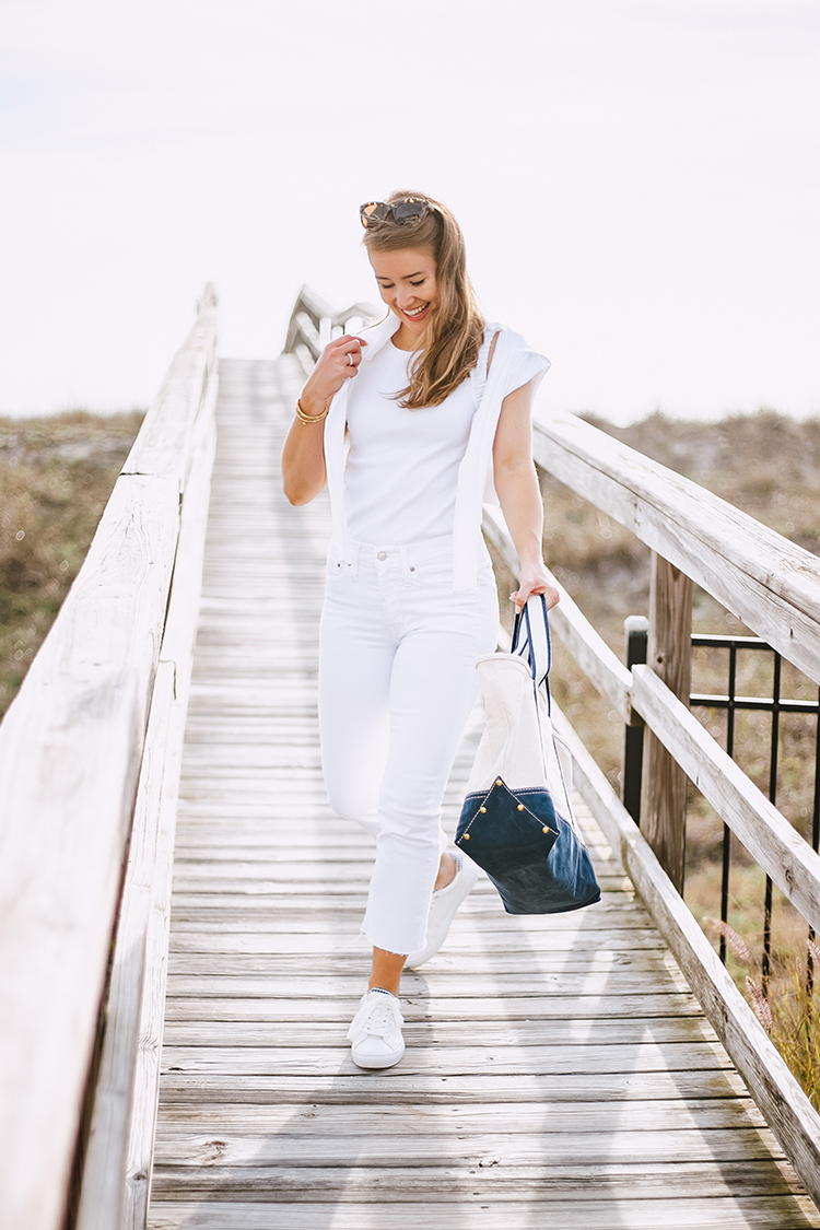 j.crew new arrivals, white ruffle tank, navy gingham sneakers, canvas montauk tote
