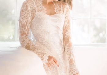 a luxurious lace bridal robe