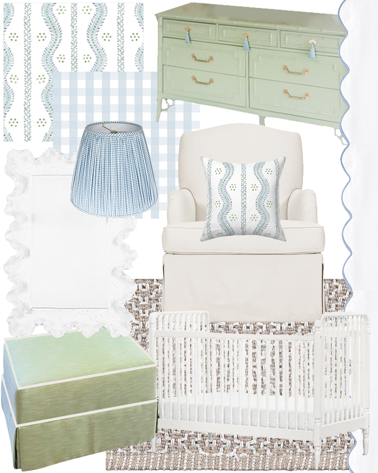 baby boy nursery inspiration, blue and green, preppy, classic, interior design