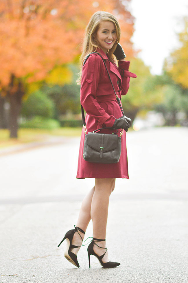 burgundy trench coat, red trench coat, maroon trench coat