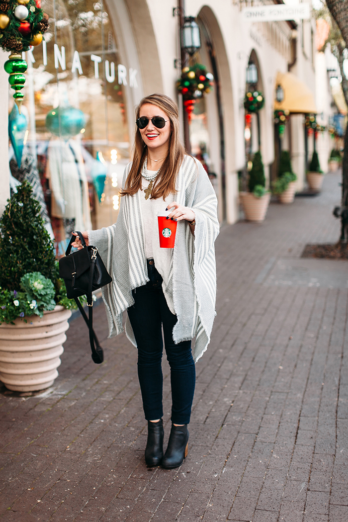 grey striped poncho, jeffrey campbell booties, jeffrey campbell hanger booties, black raybans, kate spade metro, akola project necklace, akola project collar, tory burch 797 satchel